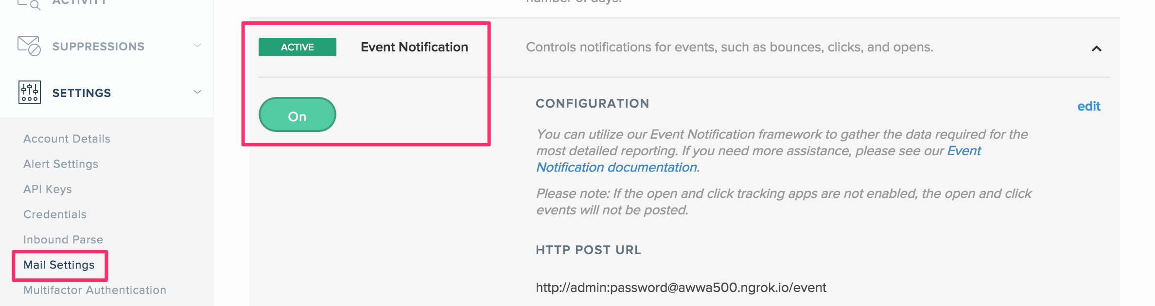 Event Notificationの有効化