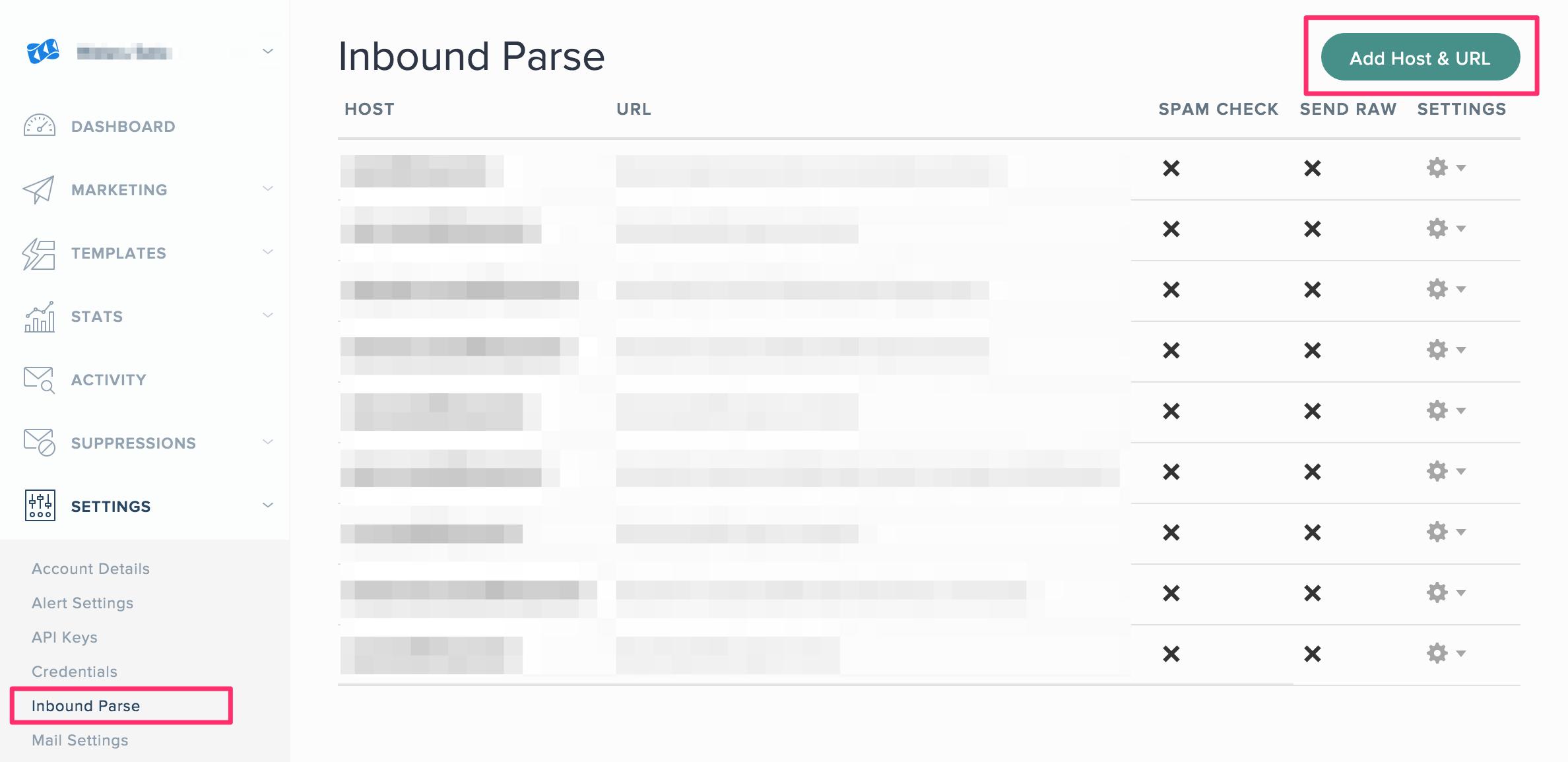 Inbound Parseの設定